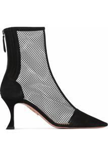 Aquazzura Ankle Boot Saint Honore Com Mesh - Preto