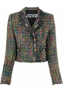 Versace Jeans Couture Jaqueta De Tweed Com Acabamento De Logo - Preto