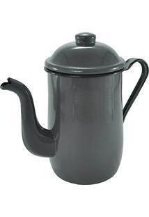 Bule Aço Esmaltado Para Café Chá 1,25 Litros Tradicional Cinza