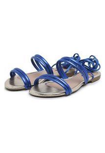Sandalia Rasteira Carmelo Shoes Ajuste Transpassado Azul