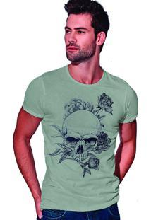 Camiseta Estonada Corte À Fio Joss Caveira Florida - Cinza