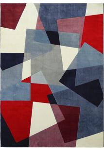 Tapete Pixel- Azul Escuro & Vermelho- 200X150Cm-Tapete São Carlos