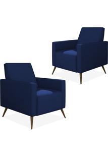 Kit 02 Poltronas Decorativas Lymdecor Liz Suede Azul Marinho