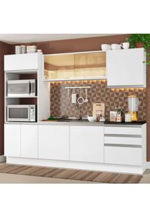 Cozinha Completa Madesa 100% Mdf Acordes Com Armário E Balcão Portas Branco Brilho (Sem Tampo E Pia)