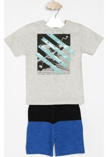"Conjunto De Camiseta ""Urban Skateboard Free"" + Bermuda Com Rcostã£O Fashion"