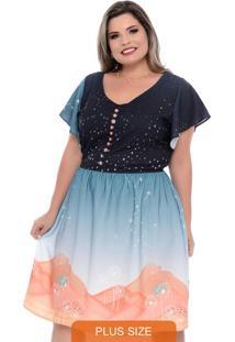 Vestido Evasê Jolie Plus Size Azul