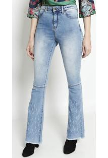 Jeans Flare Com PuãDos- Azul Claro- Miss Bellamiss Bella