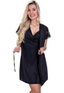 Camisola Amamentação Com Robe Estilo Sedutor Microfibra - Feminino-Preto