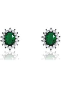 Brinco Piuka Oval Esmeralda Cravejado Zircônia Semijoia Em Ródio Negro - Feminino-Verde