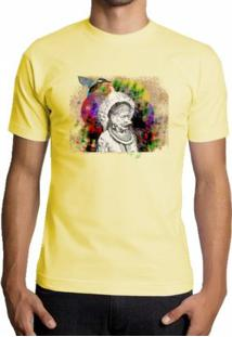 Camiseta Milá Indio Brasil Natureza - Masculino-Amarelo