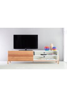 Rack Tv Contemporâneo-Moderno Eric 1800 Mdf Branco Pés Madeira Cor Jatobá Porta De Madeira De Correr - 186X43,6X48,5 Cm