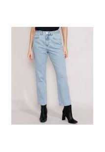 Calça Jeans Feminina Mindset Reta Paris Cintura Alta Azul Claro Marmorizado
