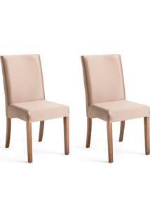 Conjunto Com 2 Cadeiras De Jantar Margaret Dourado E Imbuia