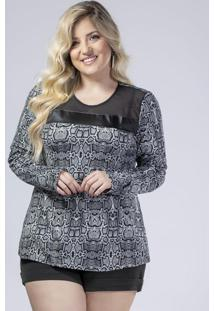 Blusa Estampada Com Recortes Estampado