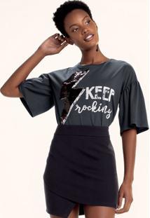 T-Shirt Mullet Em Malha De Algodão Com Estampa E Aplicações