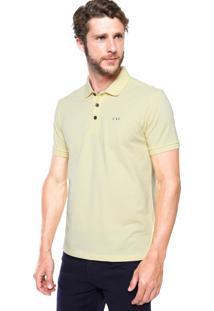 Camisa Polo Calvin Klein Jeans Logo Inciais Lateral Amarela