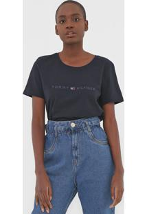 Camiseta Tommy Hilfiger Tiara Round-Nk Azul-Marinho - Kanui