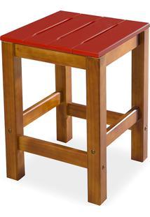 Banqueta Baixa Sem Encosto Colorida De Madeira Maciça Taeda Nozes Olga - Verniz Nozes/Vermelho 32X32X45Cm