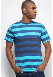 Camiseta Aleatory Listrada Fio Tinto Masculina - Masculino-Azul+Verde