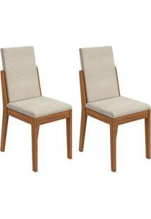 Conjunto Com 2 Cadeiras Lira L Rovere E Bege