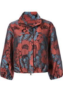Josie Natori Jaqueta Cropped Com Estampa Floral - Vermelho