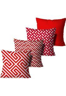 Kit 4 Capas Para Almofadas Decorativas Geométrica Vermelha E Branca 35X35Cm - Kanui