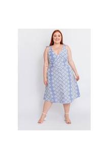 Vestido Midi Almaria Plus Size Tal Qual Bordado Azul