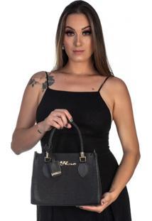Kit Bolsa + Carteira Feminina Fashion Estilo Blogueira Preto