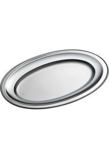 Travessa Brescia Oval Pequena Prata Com Cordão Estampado - Riva