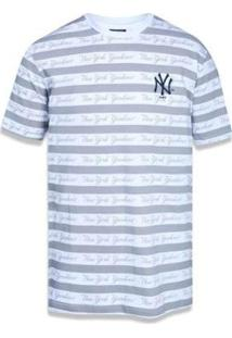 Camiseta Vitrine Casual Vitrine Casual New Era All Over Lettering Neyyan - Masculino-Branco+Cinza