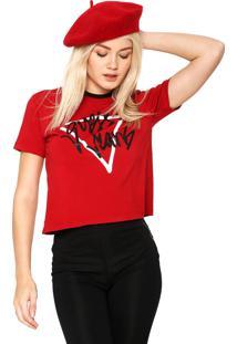 Camiseta Cropped Guess Original Vermelha - Kanui