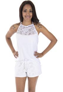 Pijama Inspirate Tecido Em Crochê Branco