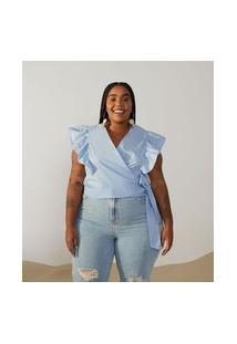 Blusa Regata Em Tricoline Com Babados E Amarração Curve & Plus Size