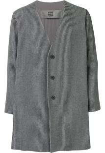 Homme Plissé Issey Miyake Single Breasted Ribbed Coat - Cinza