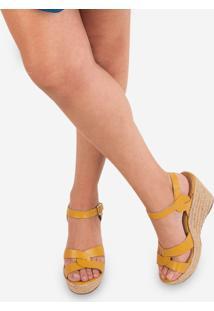 Sandália Soulier Anabela Graviola - Amarelo Amarelo