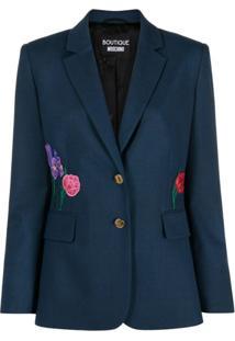 Boutique Moschino Jaqueta Com Bordado Floral - Azul