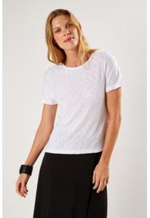 T-Shirt Malha Básica Flame Sacada Feminino - Feminino-Branco