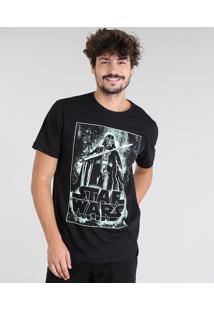 Camiseta Masculina Darth Vader Star Wars Manga Curta Gola Careca Preta