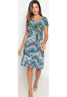 Vestido Com Amarração- Azul Marinho & Branco- Nollitnolitta