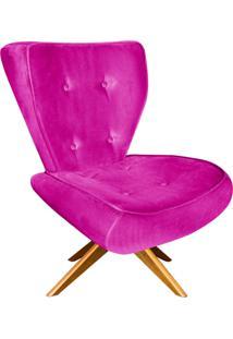 Poltrona Decorativa Tathy Suede Pink Com Base Giratória De Madeira - D'Rossi