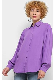 Camisa Manga Longa Colcci Oversized Feminina - Feminino-Roxo