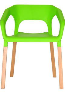 Cadeira Em Plastico Pp E Madeira De Faia - P&W-001B - Verde - Orb