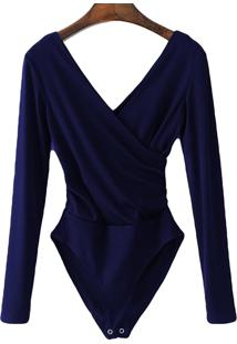 Body Transpassado Luxo Blusa Camisa Manga Longa Frozini Festa Luxo Azul Marinho
