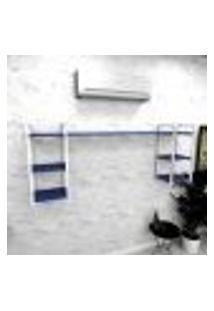 Estante Industrial Escritório Aço Cor Branco 180X30X68Cm (C)X(L)X(A) Cor Mdf Azul Modelo Ind28Azes