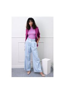 Calça Wide Leg Sisal Jeans Cós Alto Azul