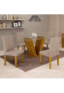 Conjunto De Mesa De Jantar Com 4 Cadeiras Classic Veludo Ypê