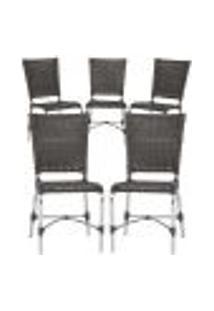 Cadeiras 5Un Para Area Varanda Fibra Sintetica Sala Cozinha Jardim Sacada Romenia - Tabaco