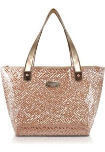 Bolsa Shopper Transparente Jacki Design Diamantes Dourado - Tricae