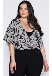 Body Almaria Plus Size Pianeta Estampado Preta