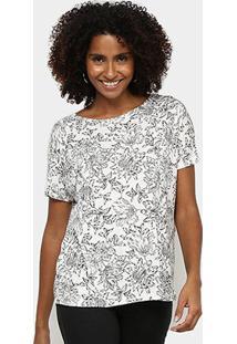 Blusa Hering Ampla Estampada Feminina - Feminino-Branco
